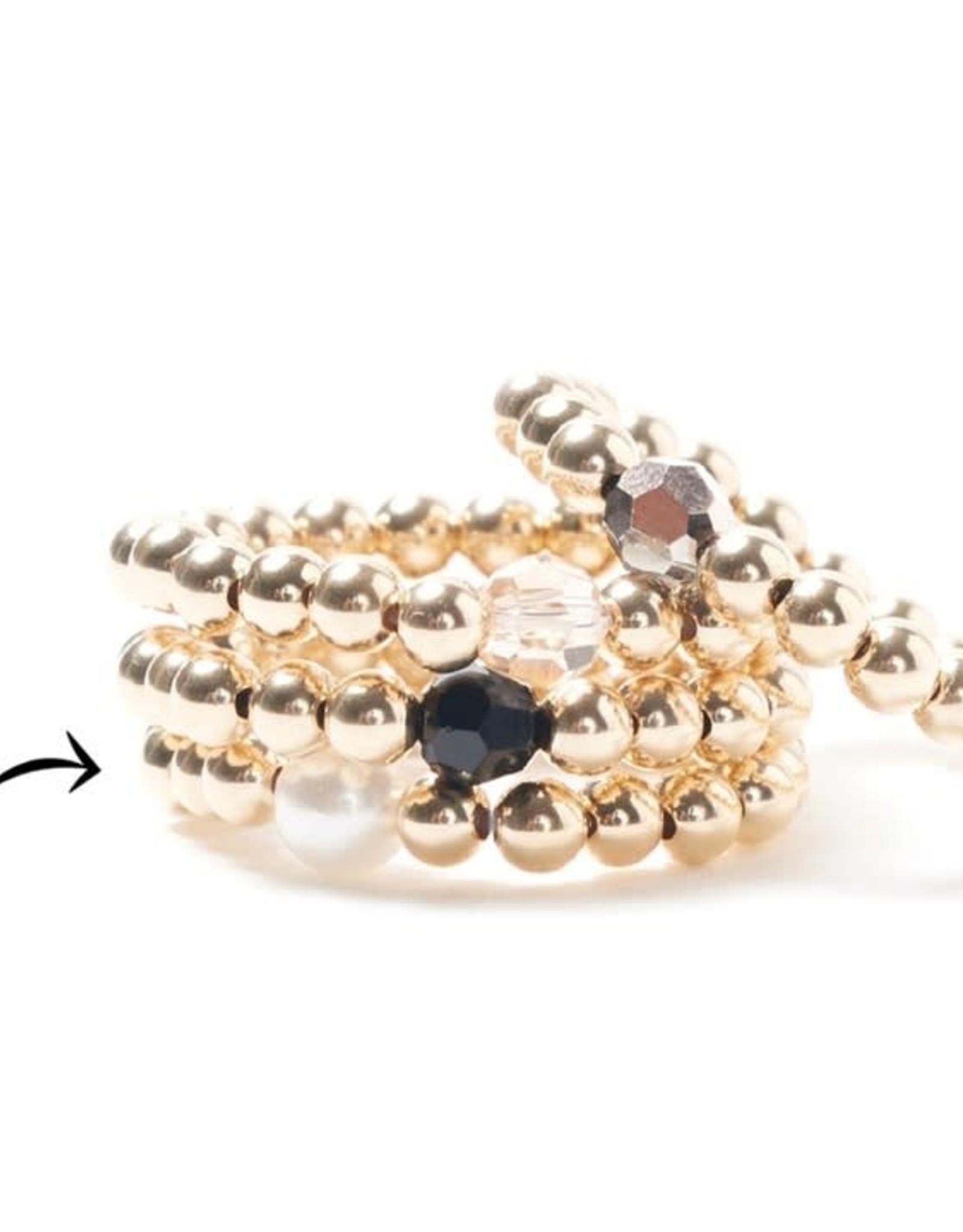 Beblue Bague élastique or -  perle blanche