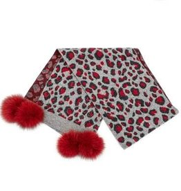 Foulard + pompon  animal - Gris & Rouge