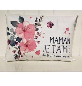 Fabrique Champêtre Coussin fleurs roses - Maman