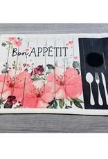 Fabrique Champêtre Napperon Lunch fleurs roses  - Appétit