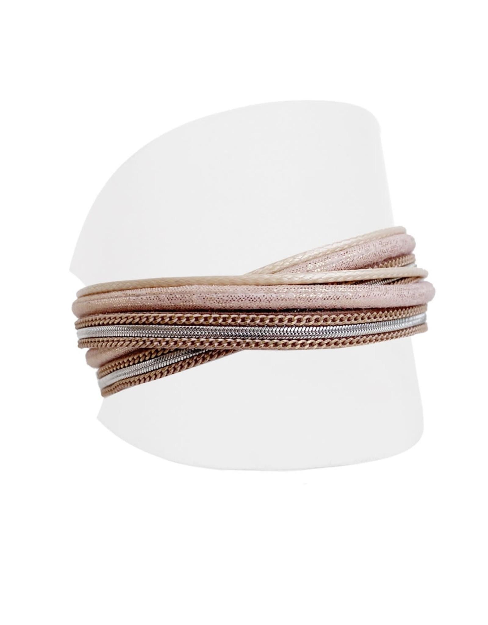 Caracol Bracelet cuir rosé - #3100