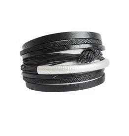 Caracol Bracelet cuir noir # 3114