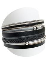 Caracol Bracelet de cuir noir  #3138
