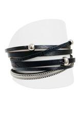 Caracol Bracelet de cuir noir  #3144