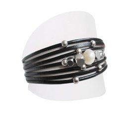 Caracol Bracelet cuir & perle noir # 3149