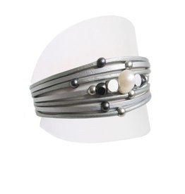 Caracol Bracelet cuir & perle Gris # 3149