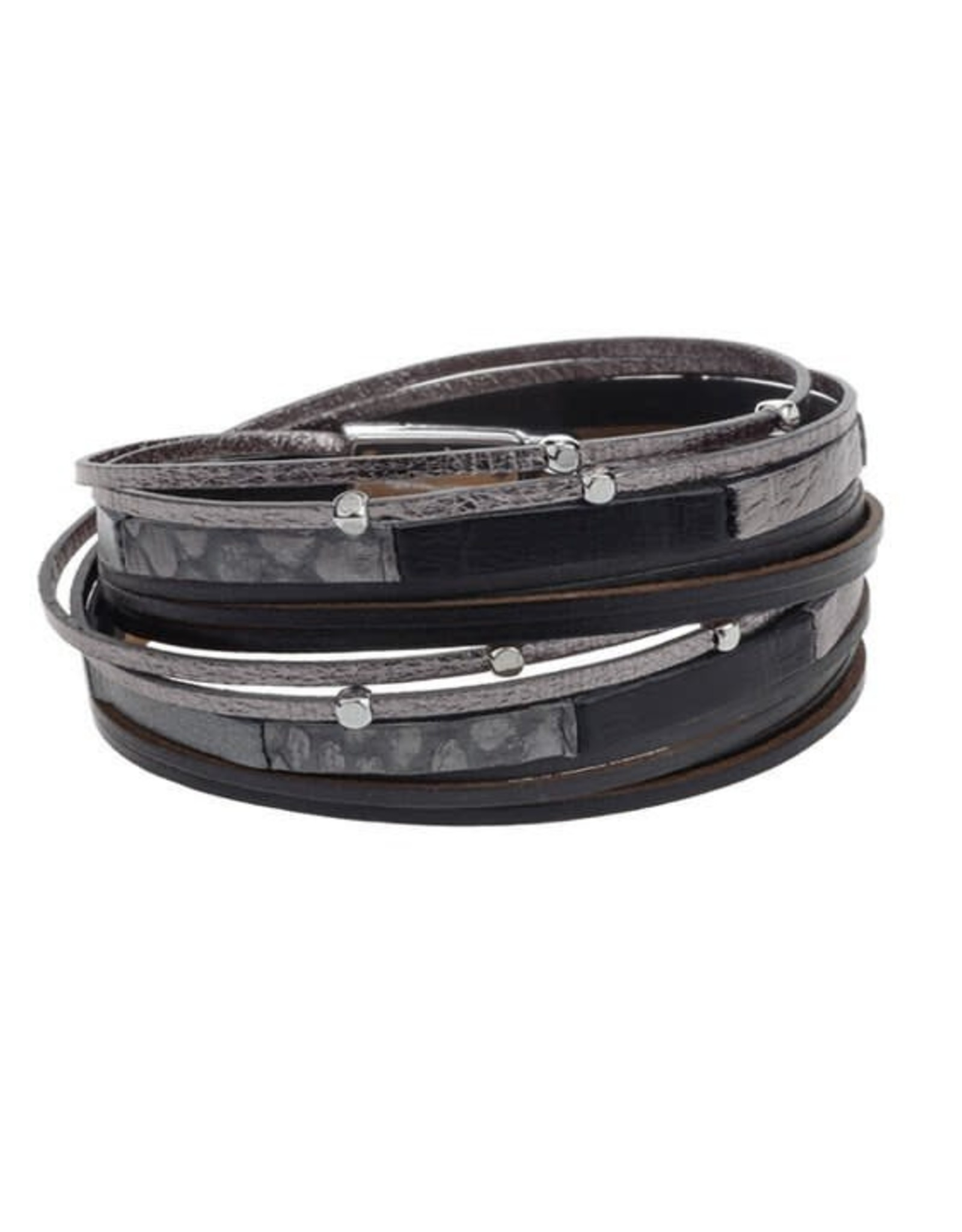 Caracol Bracelet cuir Noir   # 3152