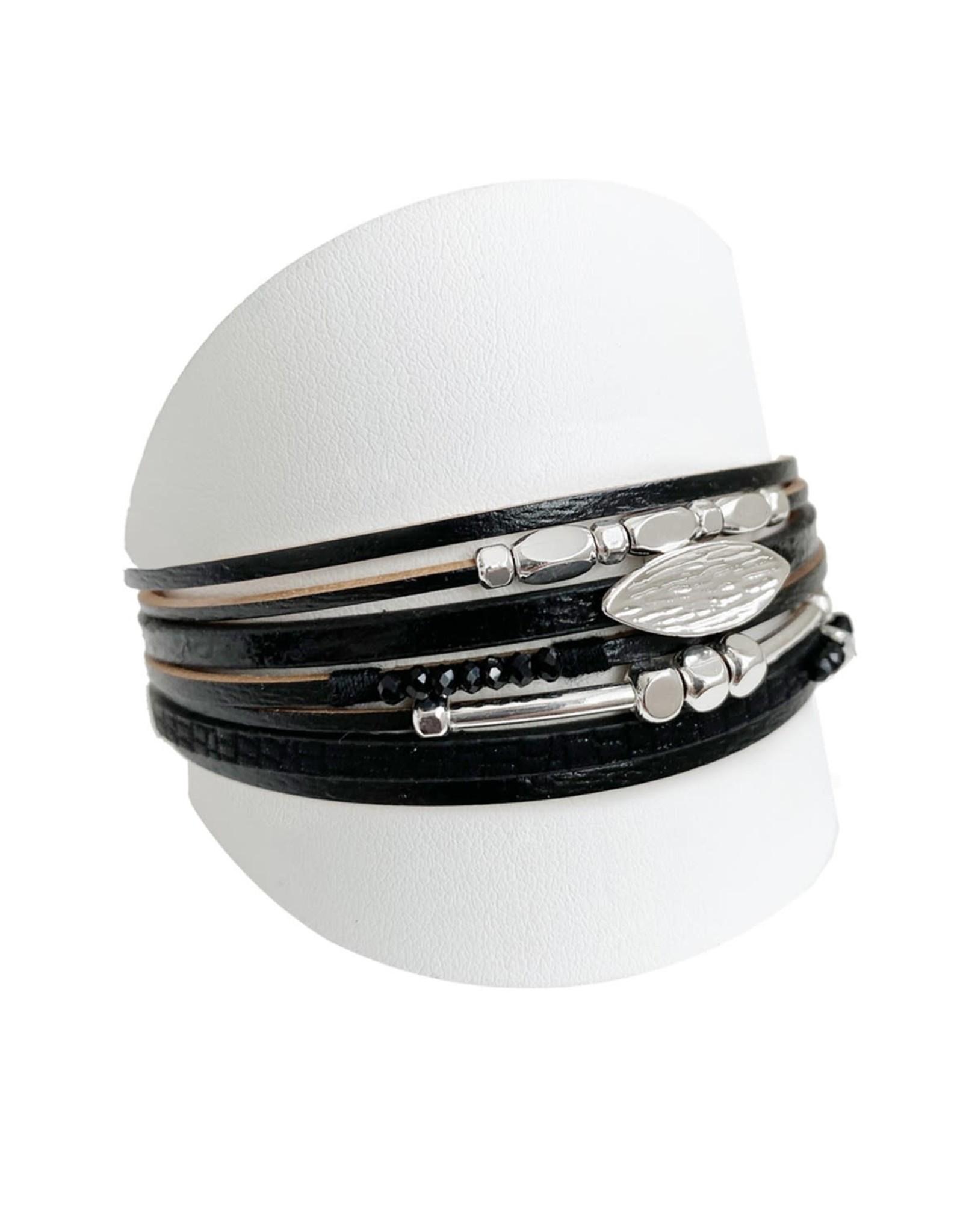 Caracol Bracelet de cuir noir - #3164