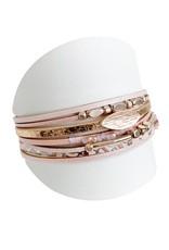 Caracol Bracelet de cuir rosé  - #3164