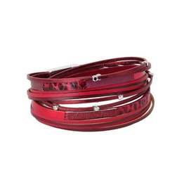 Caracol Bracelet cuir Rouge    # 3152