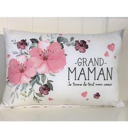 Fabrique Champêtre Coussin fleurs roses - Grand-maman