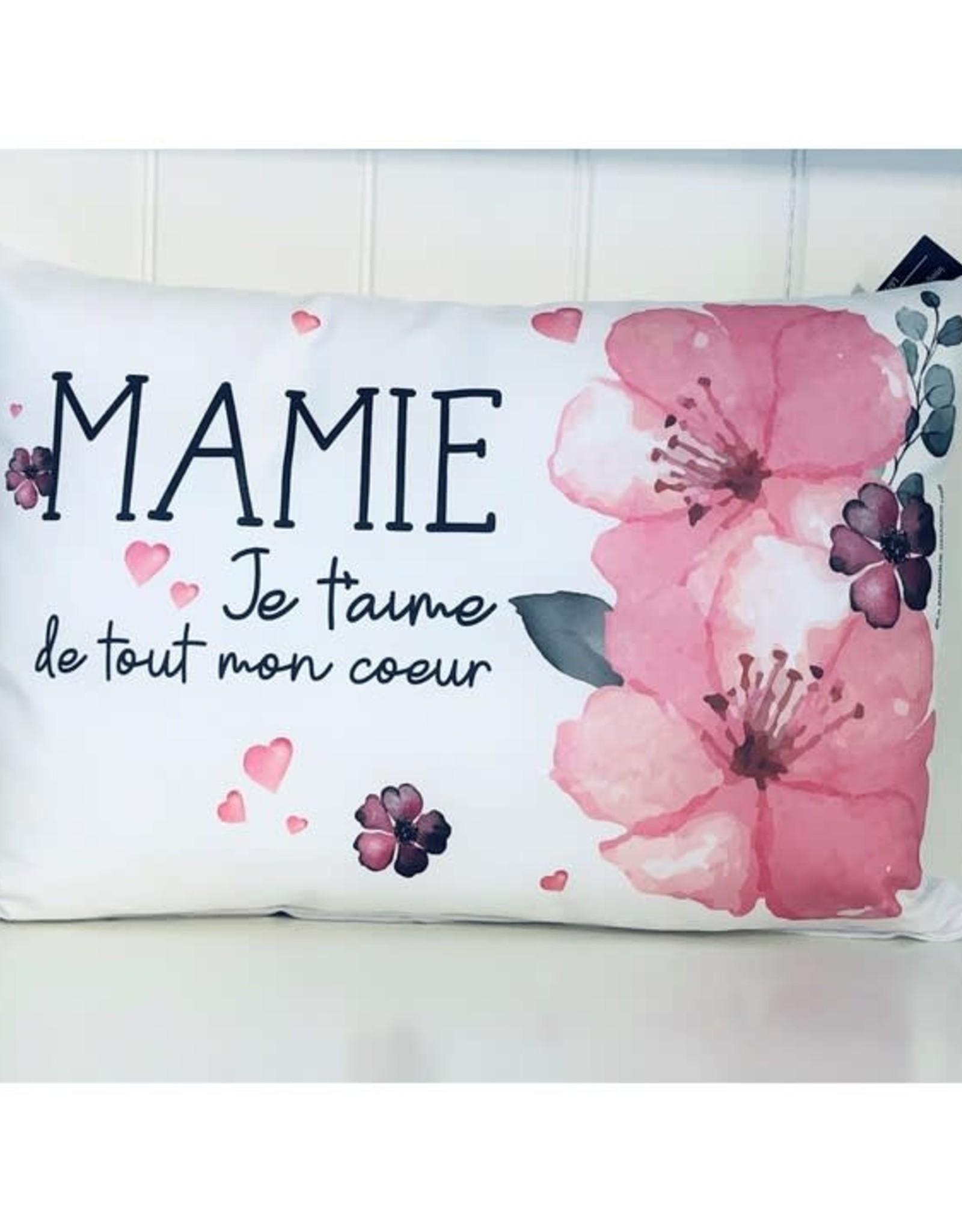 Fabrique Champêtre Coussin fleurs roses - Mamie