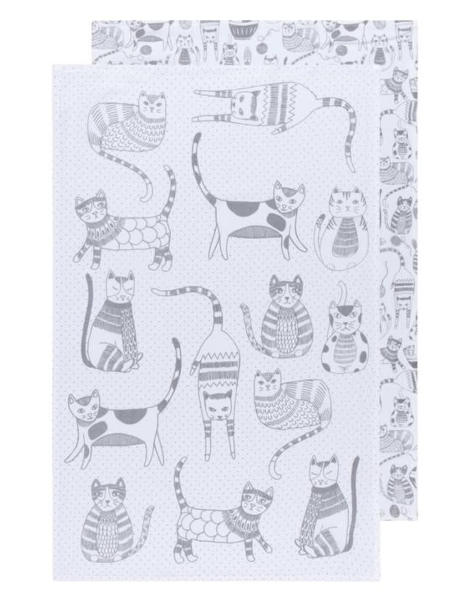 Ens 2 linges à vaisselle - chat gris