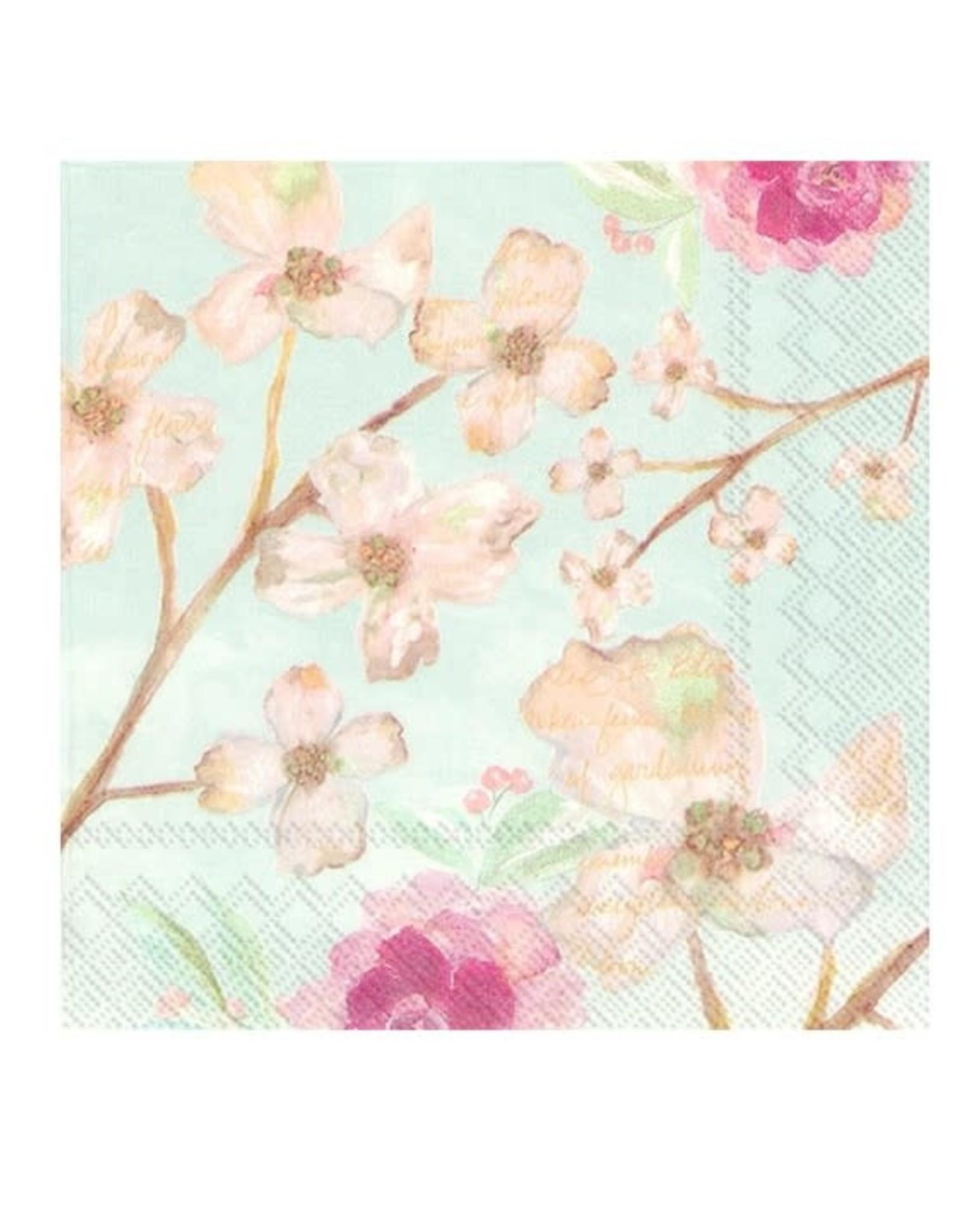 Serv. table sophie fleuri bleu pâle