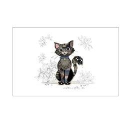 Napperon blanc chat noir