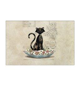 Napperon chat assis sur coussin ( Amy's)