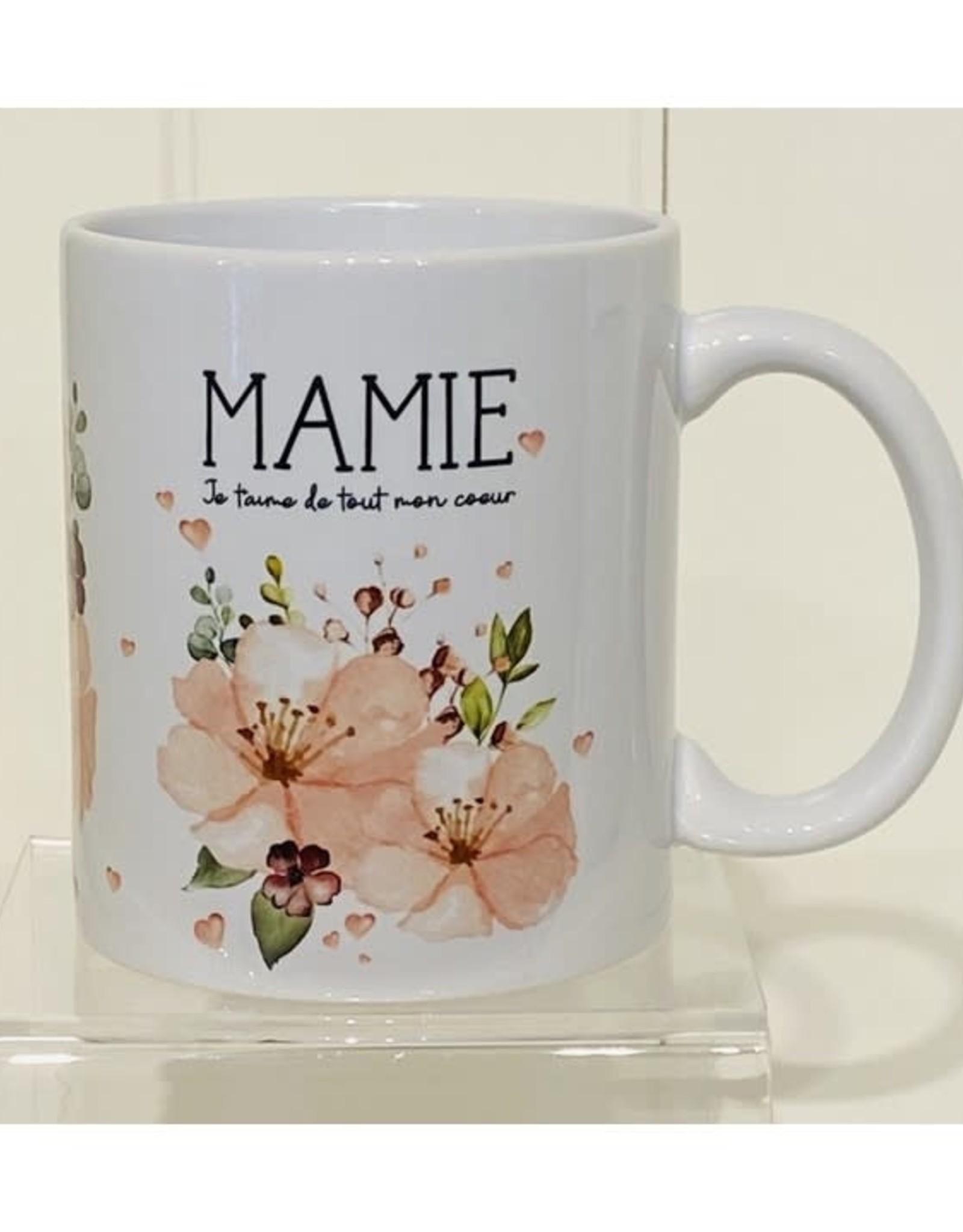 Fabrique Champêtre Tasse  Mamie  fleurs roses