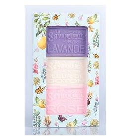 Boîte de 3 savons - Lavande, coton, rose
