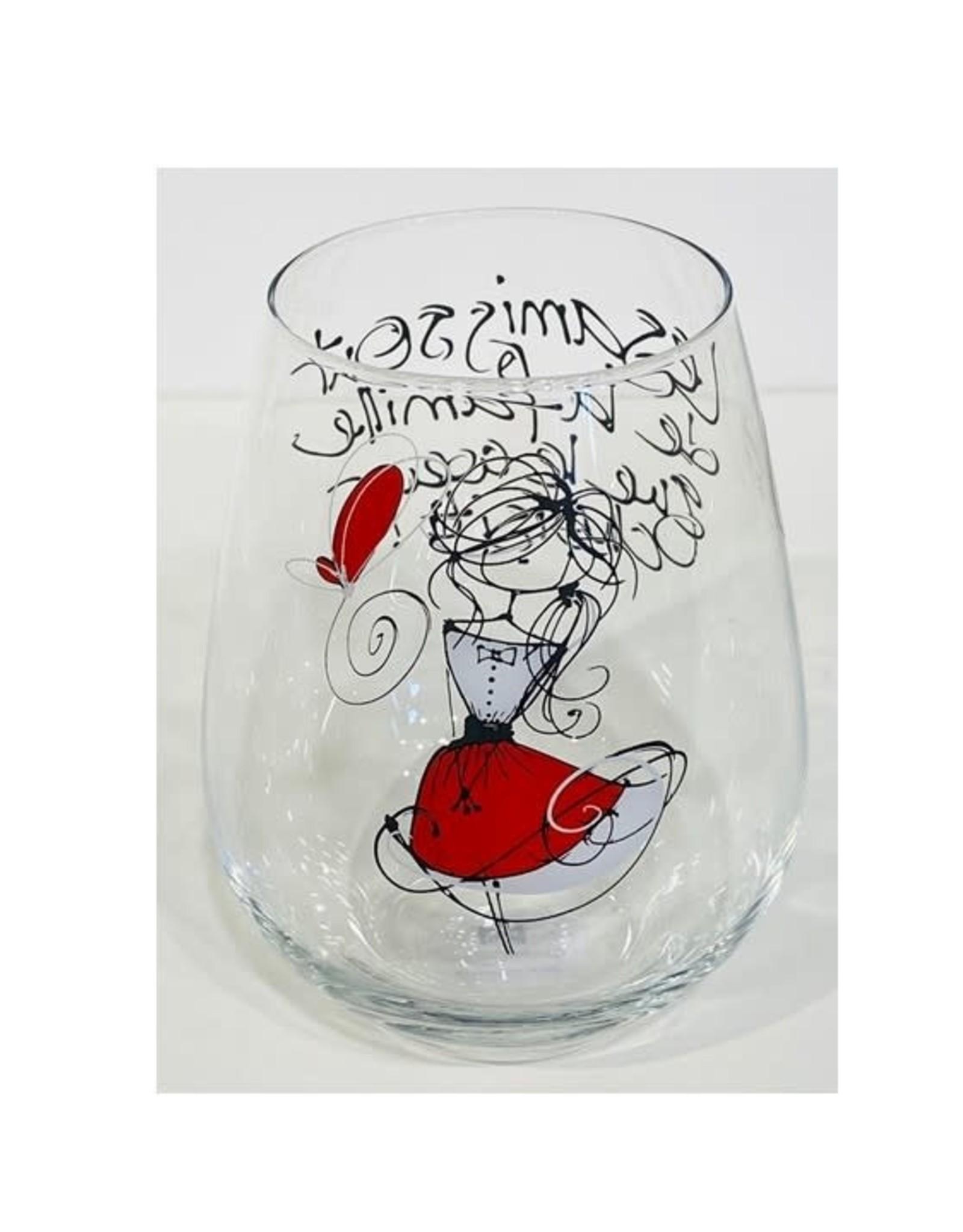 Bizzart & cie Verre à vin sans pied  robe Rouge  - Amis