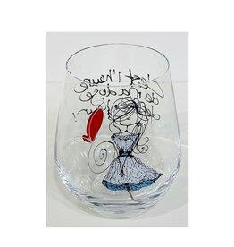 Bizzart & cie Verre à vin sans pied  robe blanche  - Bonheur