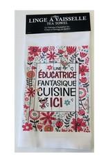 Fabrique Champêtre Linge à vaisselle - éducatrice cuisine (fleurs)