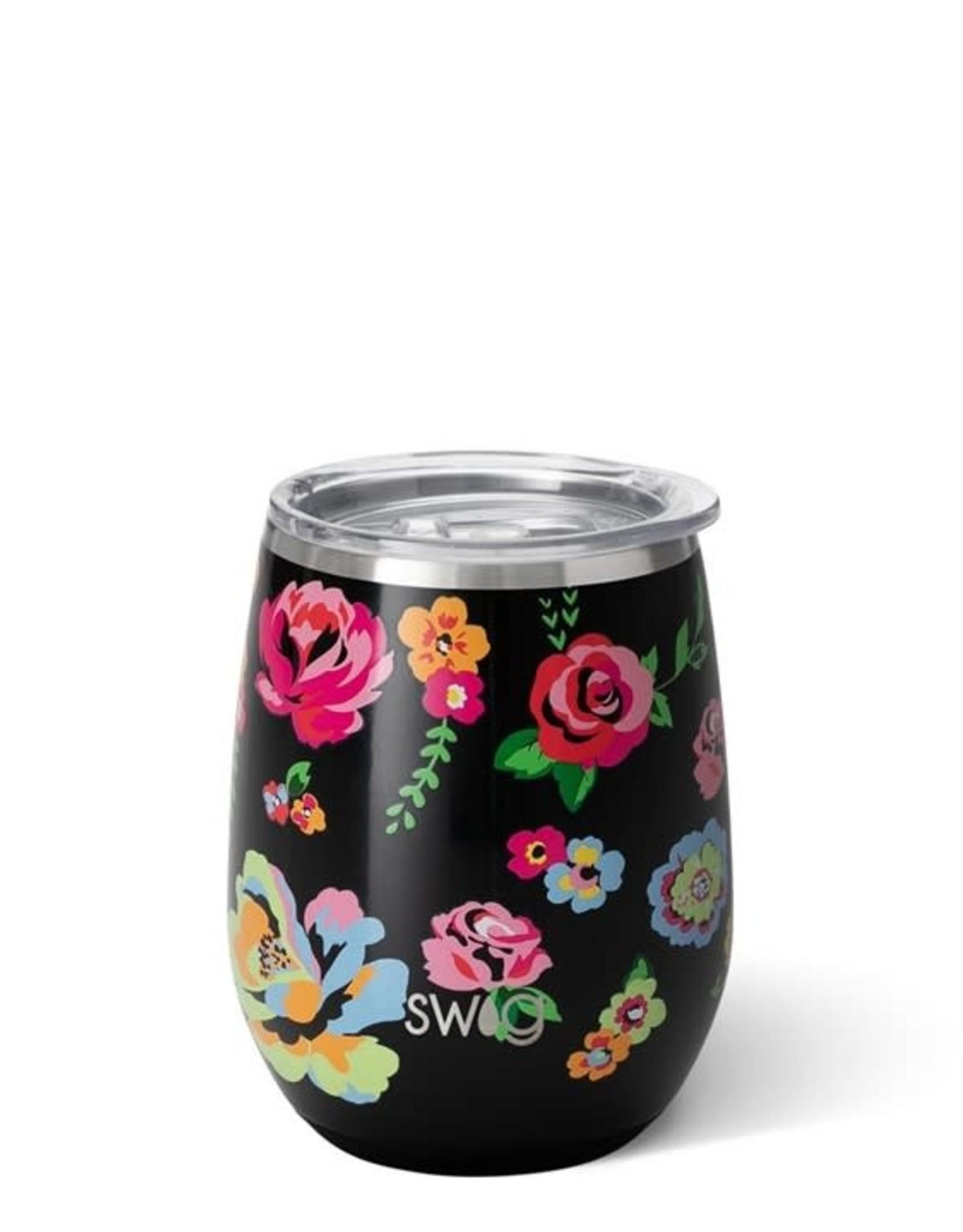 Swig Verre thermos - Noir fleuri