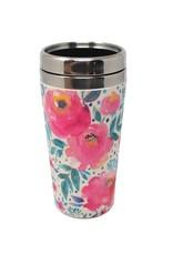 Tasse thermos fleurs roses