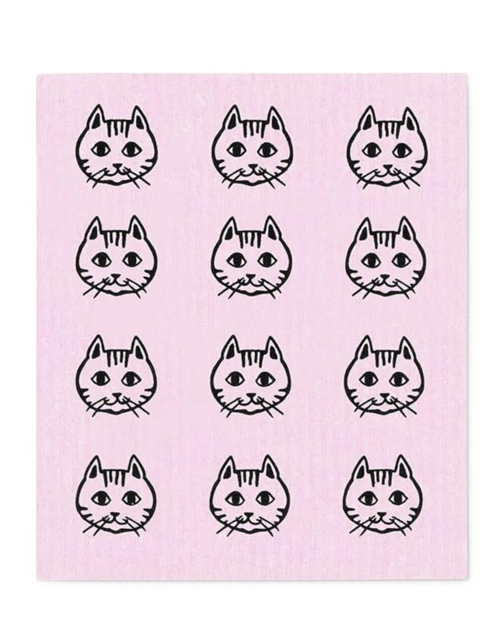 Lingette petites figures de chat - rose