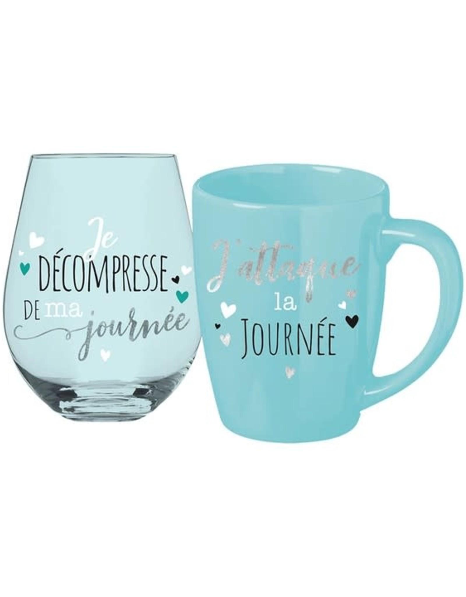 Chantal Lacroix Ensemble tasse + verre - Je décompresse