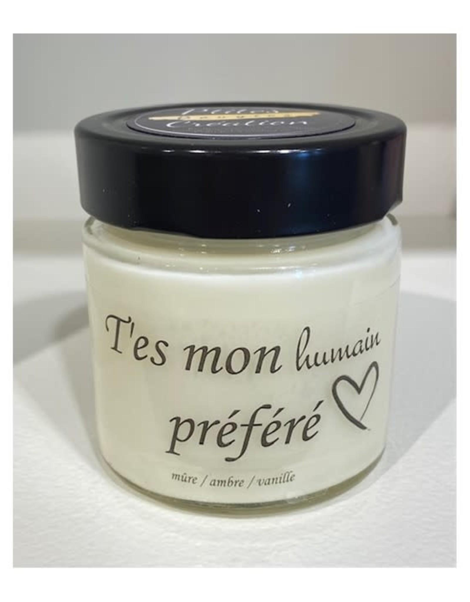 Les p'tites bougies Bougie - T'es mon humain préféré ( mûre, ambre, vanille)