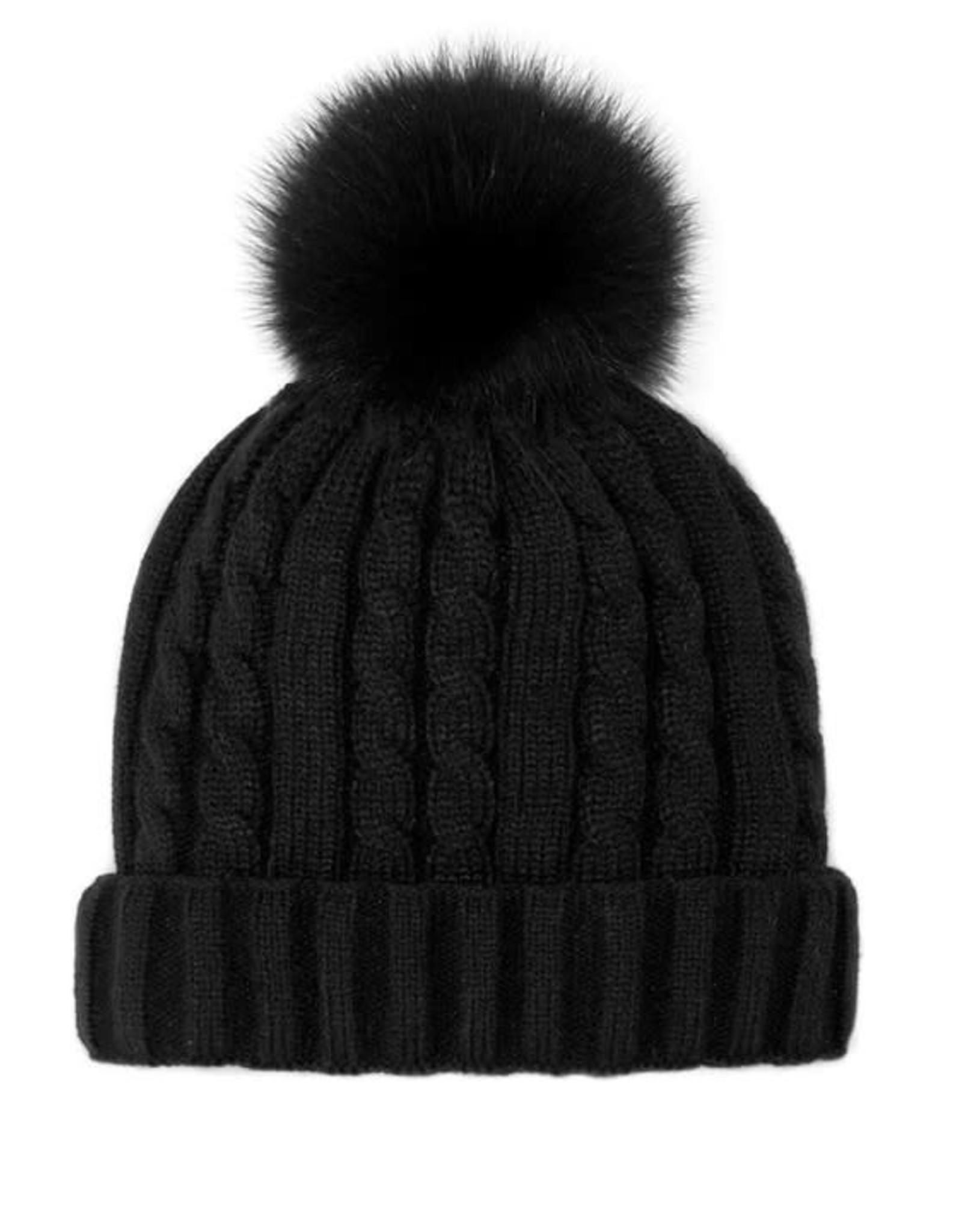 Tuque tricot noir + pompon noir