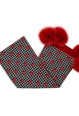 Foulard  pied de poule - Rouge & Noir + Pompons