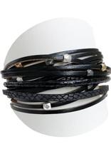 Caracol Bracelet de cuir noir - #3137