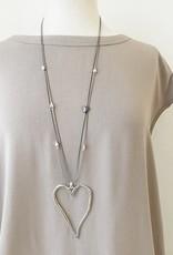 Caracol Long collier coeur - Argent  #1352