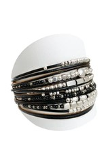 Caracol Bracelet multi rangs - noir   #3161