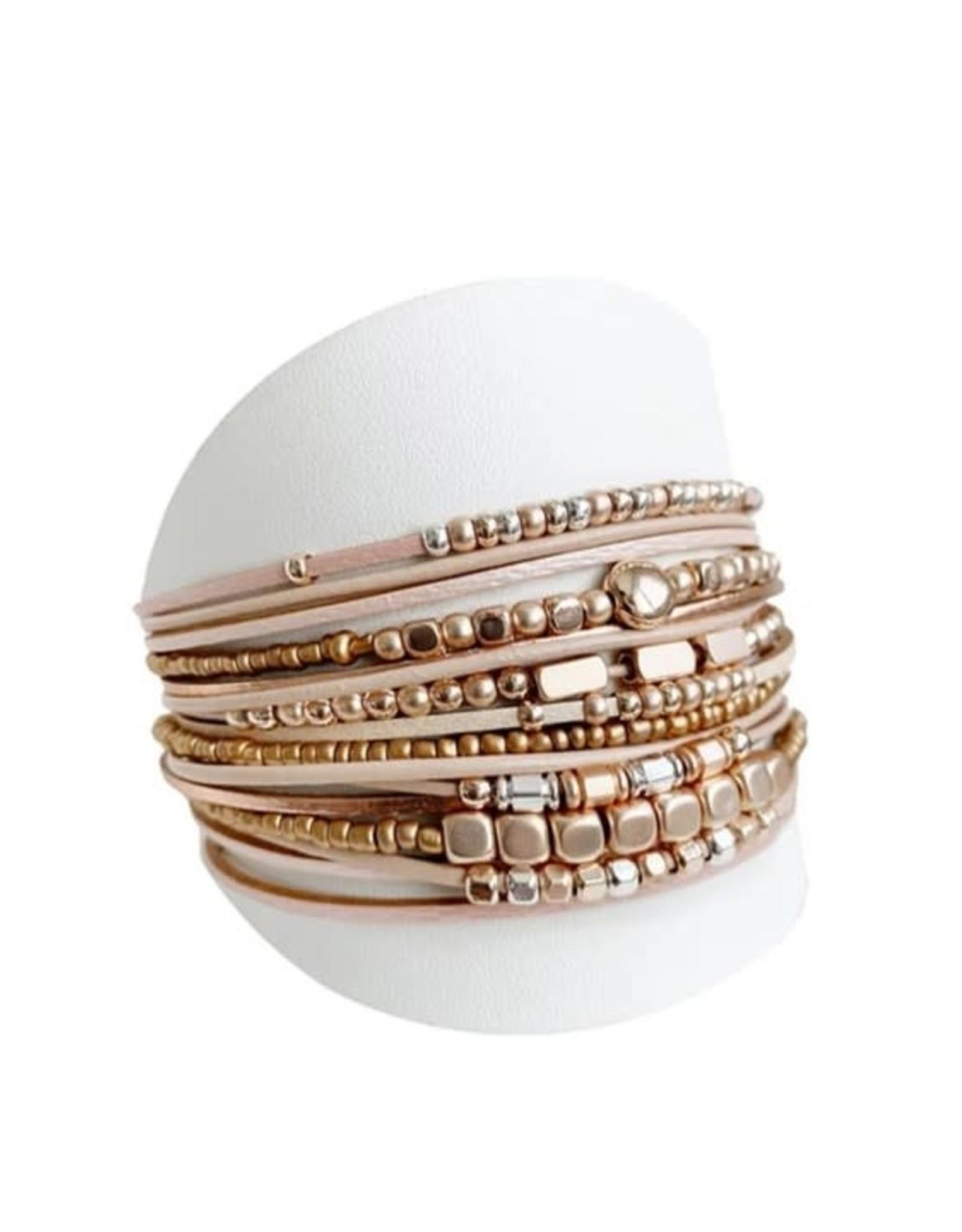 Caracol Bracelet multi rangs - rosé    #3161