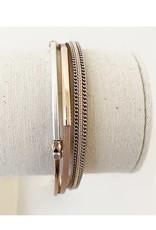 Caracol Bracelet délicats cuir - Rosé  #3171