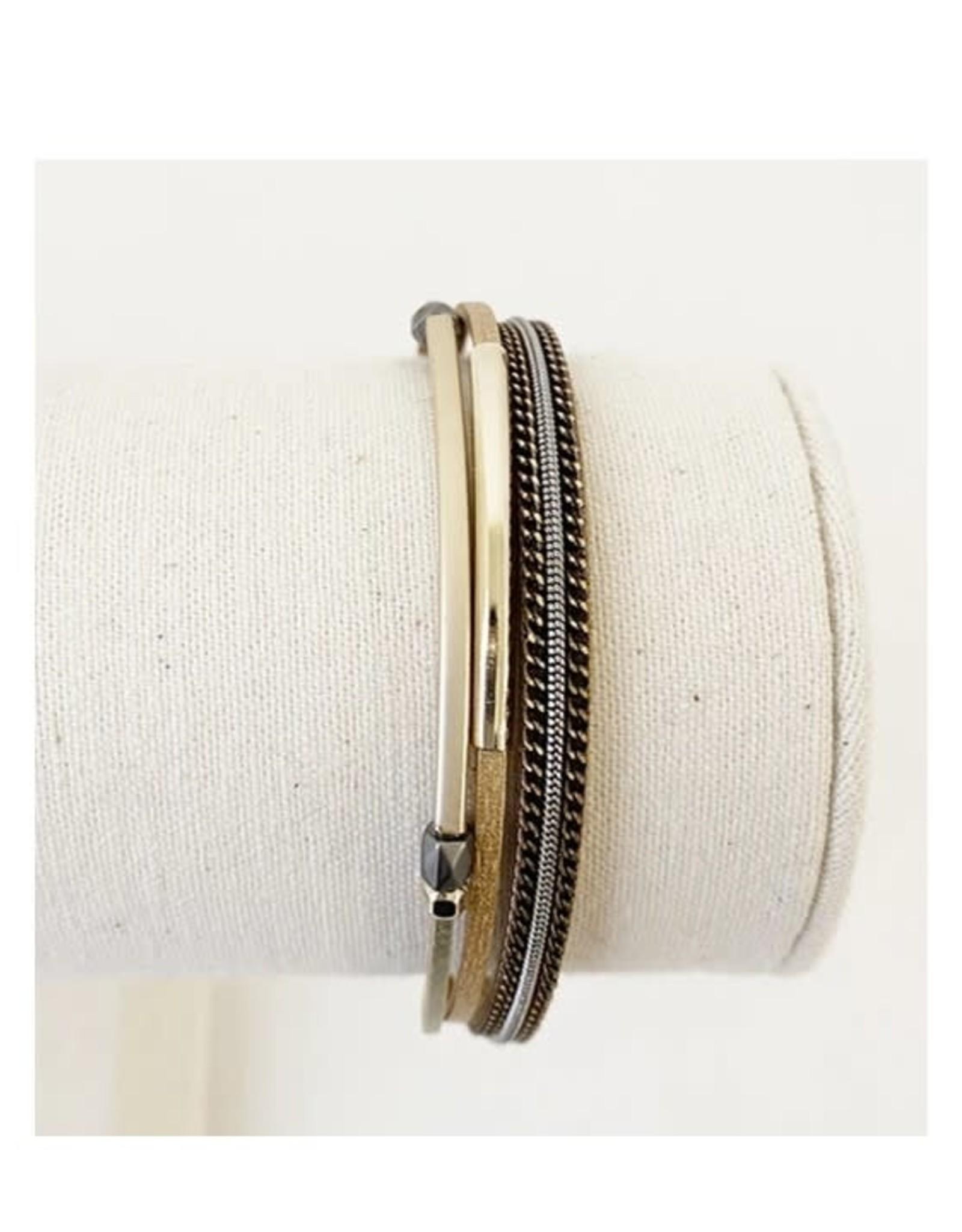 Caracol Bracelet délicats cuir - Café   #3171