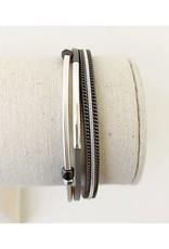 Caracol Bracelet délicats cuir -Gris  #3171