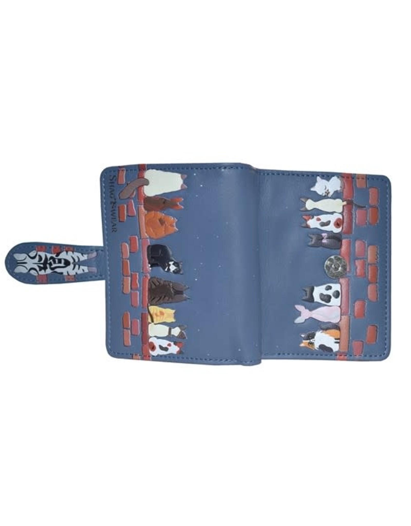 Petit portefeuille chats - bleu