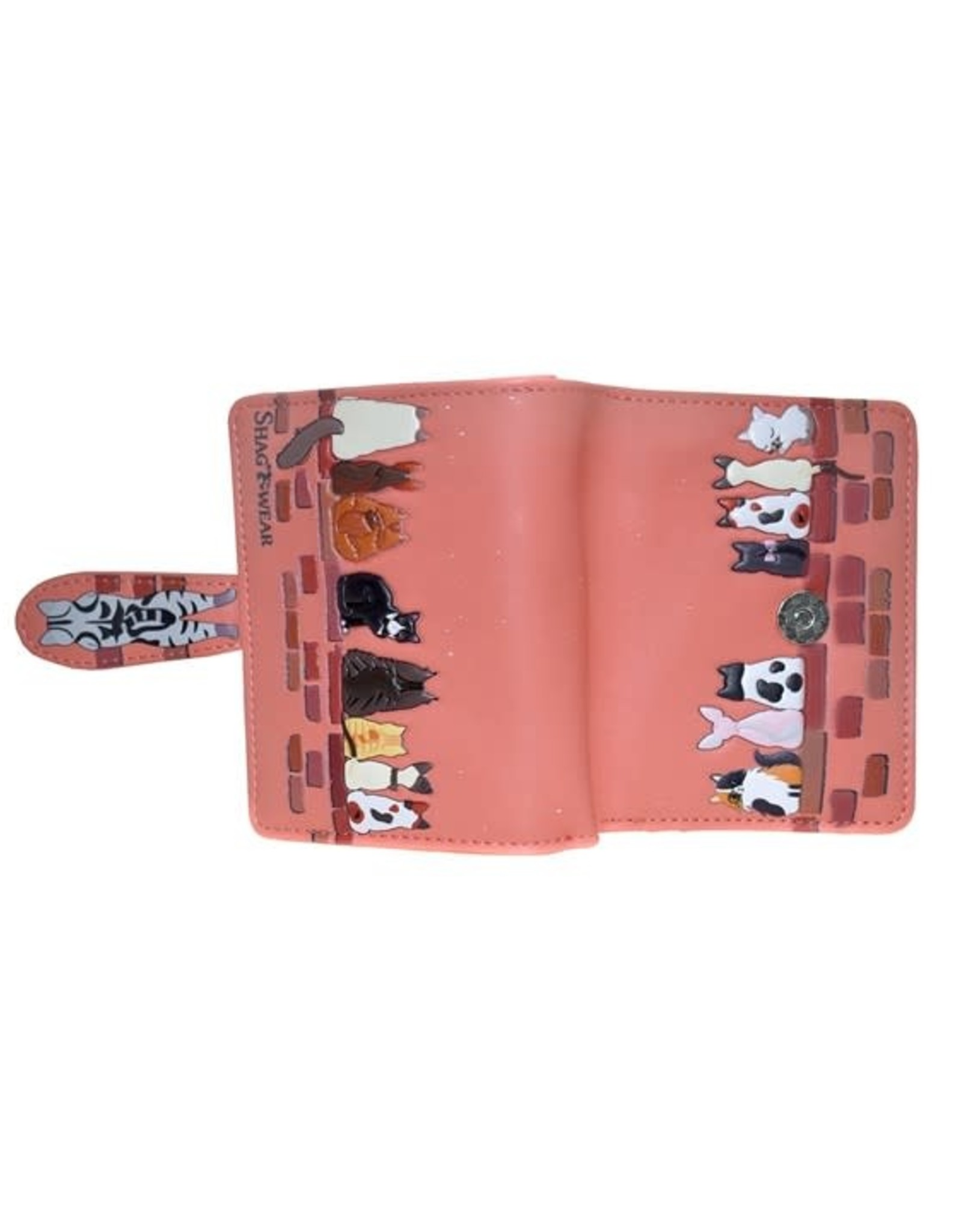 Petit portefeuille chats - Corail