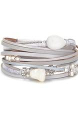 NOMAAD Bracelet gris + perle #13918