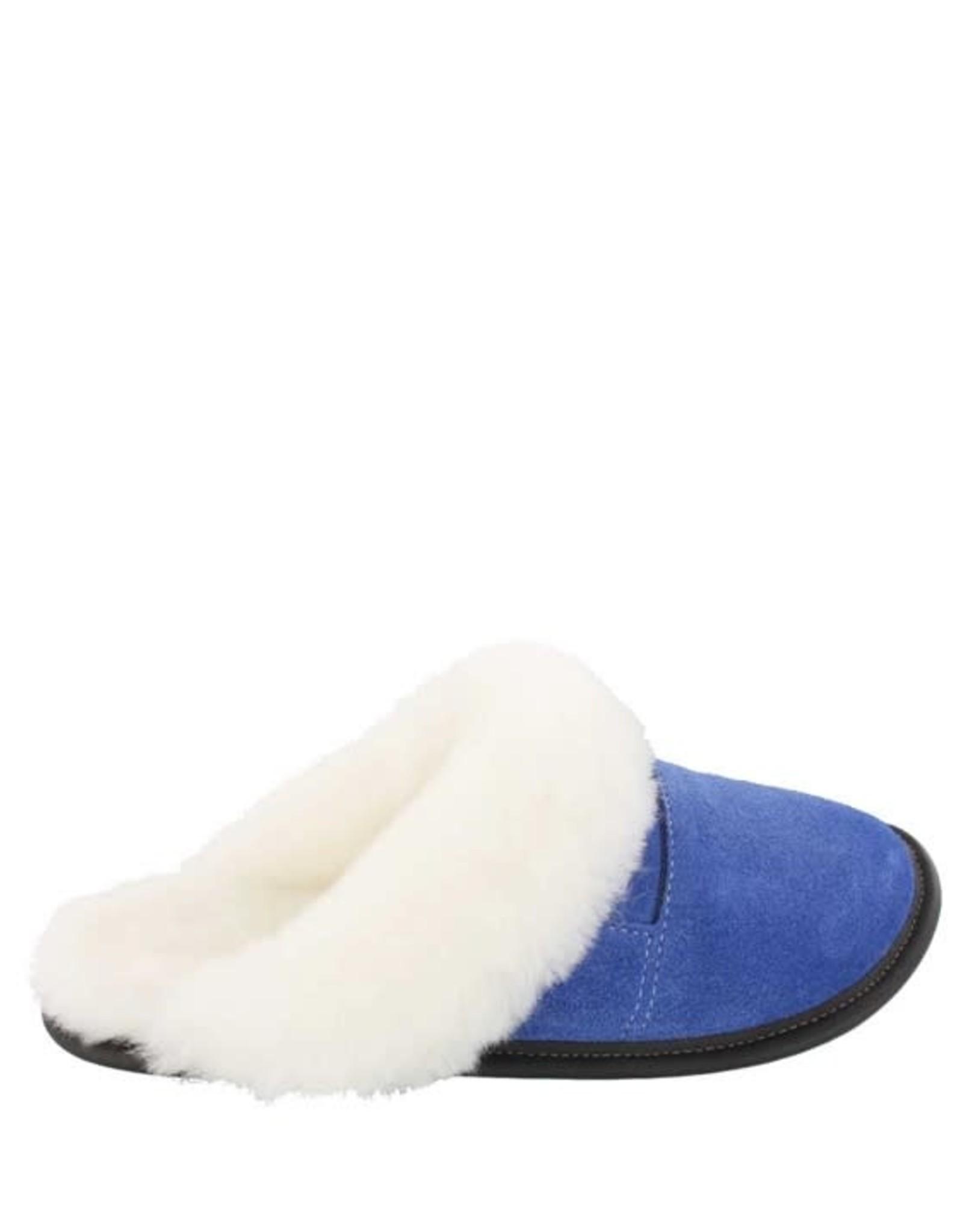 Garneau Pantoufle mule bleu-limoges + Bordure - Femme