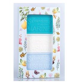 Boîte de 3 savons - Marine, Jasmin, Musc blanc