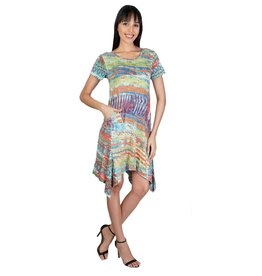 Parsley & Sage Print Dress Asymmetrical Hem 21T07D