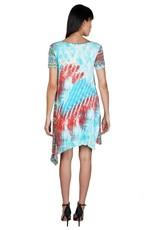 Parsley & Sage Short Sleeve Print Dress Asym Hem 21T07D