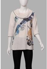 Yushi Cowl Neck Abstract Tunic 2212 (S1)