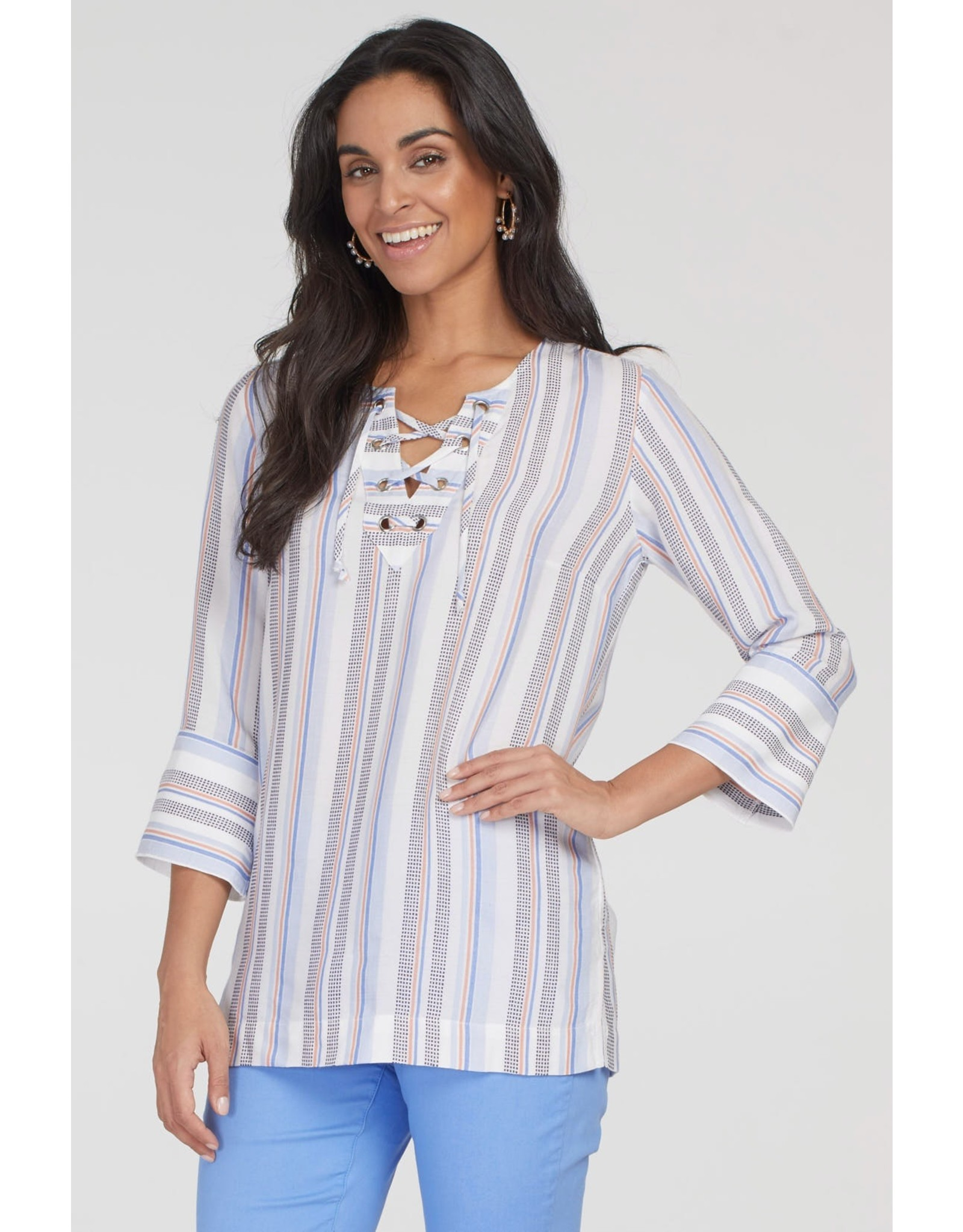 Tribal Long-Sleeved Tunic with Lace Up Neck 69930 (S1)