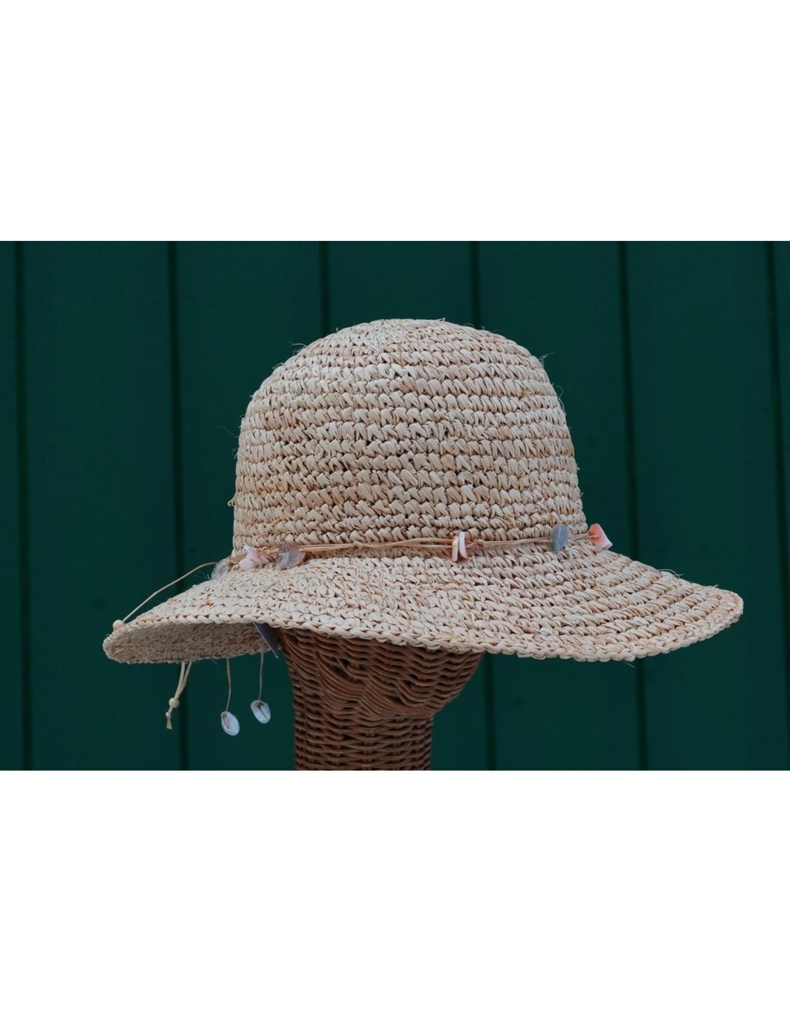 Hat Stuff Raffia Crochet Hat w/Shells 4336 (S1)
