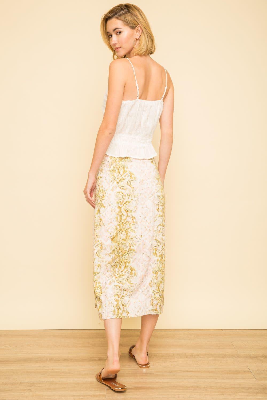 Mystree Snakeskin Print Button Front Midi Skirt